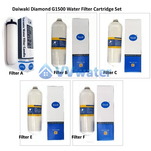 Daiwaki Diamond G1500 4 Water Filter Set